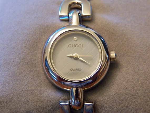Vintage Gucci Inspired Ladies Silver Wrist Watch- Estate Jewelry- Womens Fine Jewelry Repica
