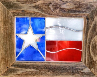 Fathers Day Gift Texas Flag Stained Glass Texas Decor Barnwood Frame Lone Star State Texas Gift