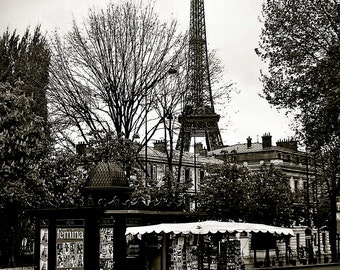 Newstand near the Eiffel,Black and White-Paris,France,Fine Art Photography,Travel,Eiffel Tower,Black and White,Landscape