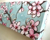 "Cherry Blossom Jewelry Holder and Key Rack  Blue and Pink Cherry Blossoms, Japanese, Watercolor Painting ""Cherry Blossoms"""