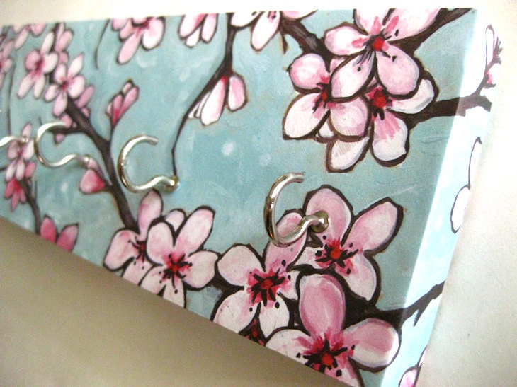 Cherry blossom jewelry holder and key rack blue and pink for Cherry blossom mural works