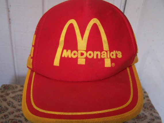 Items similar to Vtg Mcdonalds trucker cap hat classic red ...
