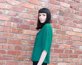emerald green button front blouse