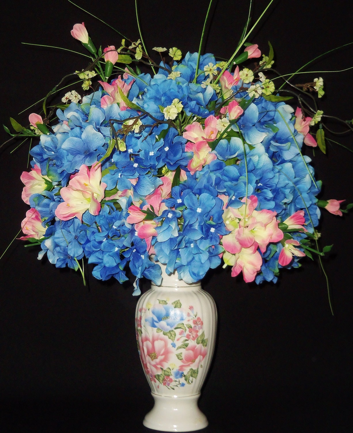Silk flower arrangement pink gladiolus blue by for Pink and blue flower arrangements