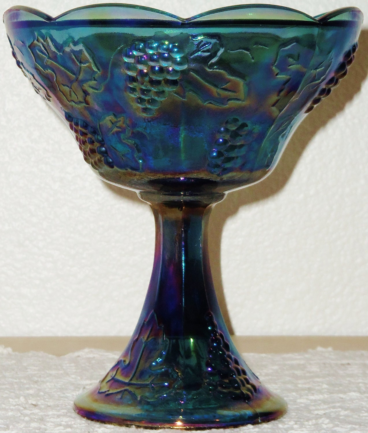 Vintage Indiana Glass Compote Blue Carnival Glass Harvest