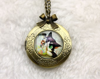 Necklace locket cat and miss mouse