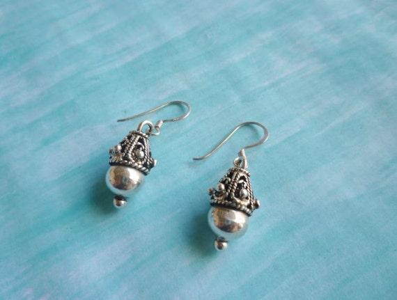 Moroccan silver filigree acorn drop filigree earrings