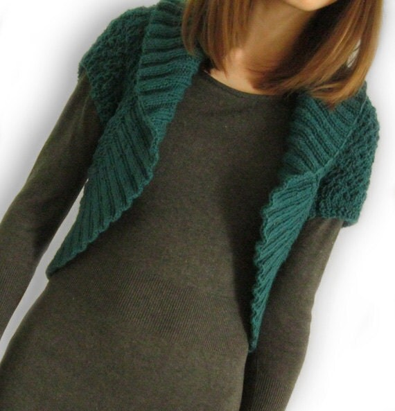 Reserved listing for Polina - Green Knitted Cardigan / Short Sleeve Knitted Shrug / Hand Knit Pine Green Bolero