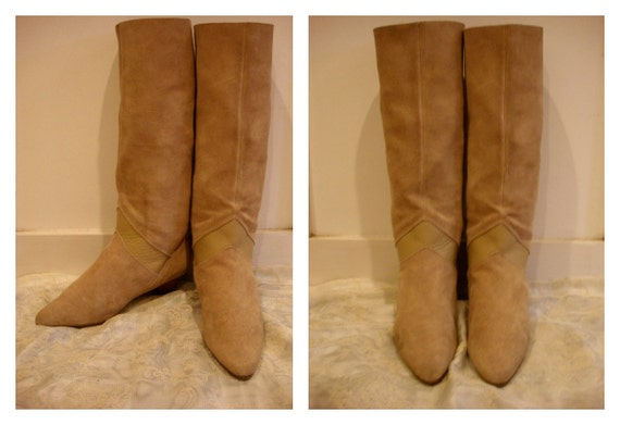 Size 8 Size 9 1980s Suede and Leather Wedge Boots Tall Boots Flat Boots Pixie Boots