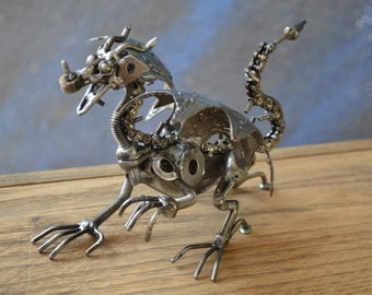 "Hand Made DRAGON 7"" Inches Recycled Scrap Metal Sculpture"