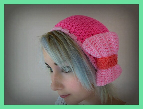 Hot Pink Crochet Beret Hat with Light Pink Over Sized Bow - Women's Medium