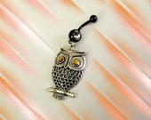 SALE--Belly Ring, Antique Silver Filigree Owl with Crystal Gold Eyes, Belly Button Navel Ring, Belly Button Jewelry For Women and Teens