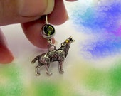 SALE---Belly Ring, Tibetan Silver Howling Wolf with Gold Crystal Eye, Belly Button Jewelry, For Women and Teens