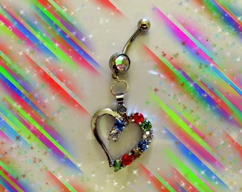 SALE-Belly Ring, 18KG Open White Gold Holiday Multi Color Rainbow Half Crystal Heart , Belly Button Jewelry, For Women and Teens