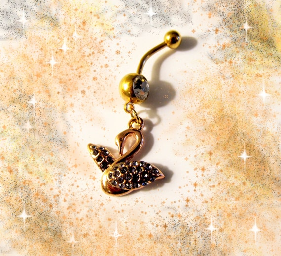 SALE-Belly Ring,18K Gold Crystal Swan  Belly Button Jewelry for her-