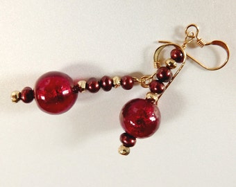 Deep Red Venetian Glass Dangle Earrings with Res Pearls and Gold, 22K Gold Foil Murano Glass, 14K Gold Filled Ear Wires, Handmade