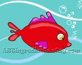"Red fish artwork print. Custom colors, sea theme. Wall art picture for kid's room, nursery decor. Art for children. 8 x10 Nursery prints"""