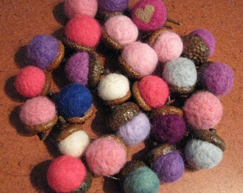 26 gorgeous needle felted acorns, purples, pinks, blues, display, bowl filler