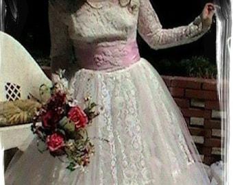Modest Wedding Dress, Mid Century Wedding Dress, Vintage Wedding Dress, Altered Couture Wedding Dress, 1950s Wedding Dress, Cupcake Wedding