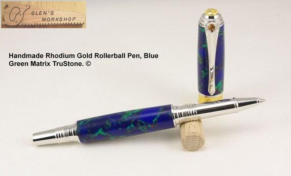 Rollerball Pen Art Nouveau Rhodium Gold Blue Green Matrix