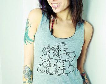 Pile of Kitties Cats Racerback Tank - Organic Eco Happy Shirt - ReLove Plan.et - S-L