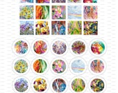 Art Watercolors, Digital Collage, Instant Download, 1 inch, Circles, Squares / 45
