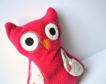 Red Owl - Little Owl - Plush, Plushie, Plushies - Stuffie Red and White