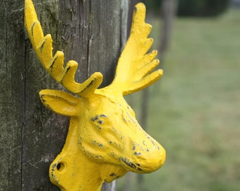 SUN YELLOW Wall Hook/Cast Iron Moose Head Hook