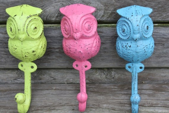 A Trio of Cast Iron Owl Wall Hooks/Coat Hooks/Racks