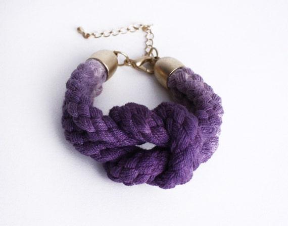 UNIQUE Dip Dye- Knotted Cotton Bracelet in purple