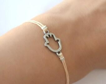 Hamsa Bracelet, cord bracelet with a silver Hamsa charm, beige string. jewish bracelet from Israel, protects from evil eye, hanukkah gift