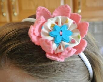 Pink Felted Wool Flower Headband.
