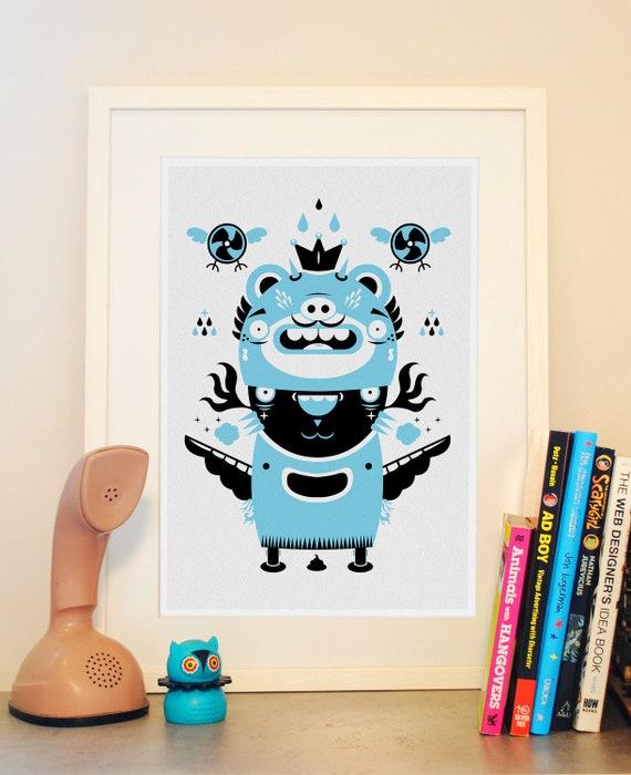 Totem black blue poster print, wall art, Kind of a bear, a cat and a bird print, Weird animal poster, Modern art - A3 size