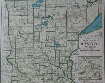 1947 Vintage MINNESOTA MAP 1940s State Map of Minnesota Gift for Traveler Birthday Wedding 7103