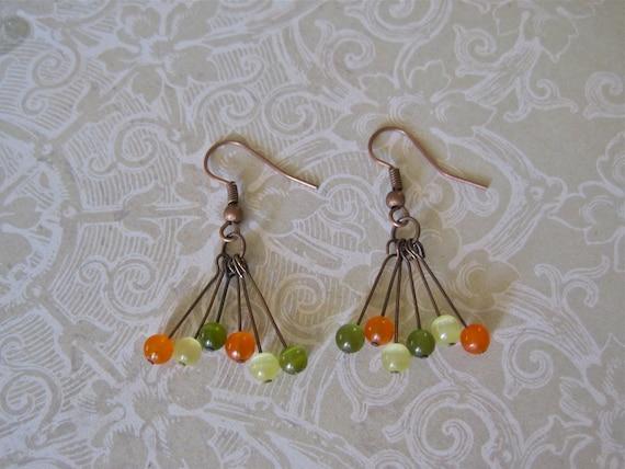 rustic copper. Fall colors. earrings. lemongrass. lime green. tangerine. glass beads.