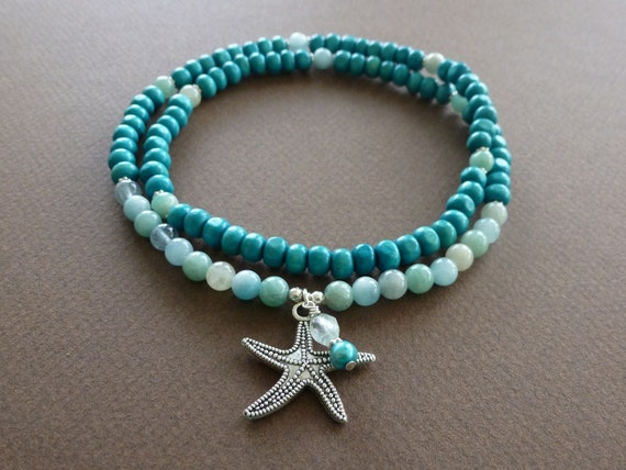 WATER Element 108 Bead Mala Necklace with Amazonite, Aquamarine, Blue Quartz & Pearl - Silver Starfish Pendant - Reiki Charged
