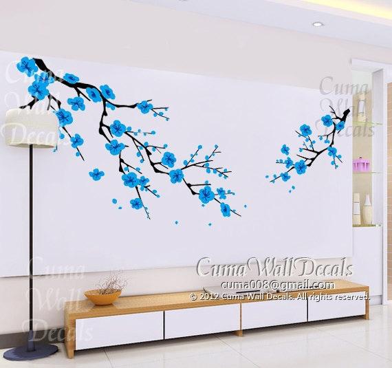 blue cherry blossom wall decals white flower vinyl mural black tree wall decal flowers butterflies wall decal