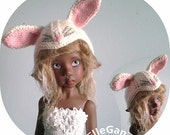 Cashmere Bunny hat for BJD MSD size