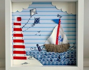 Made to order - seascape - Fabric & paper wall art for kids