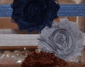 3's a CHARM for Fall-Three Shabby Flower Adjustable Headbands in Navy, Silver and Chocolate Brown
