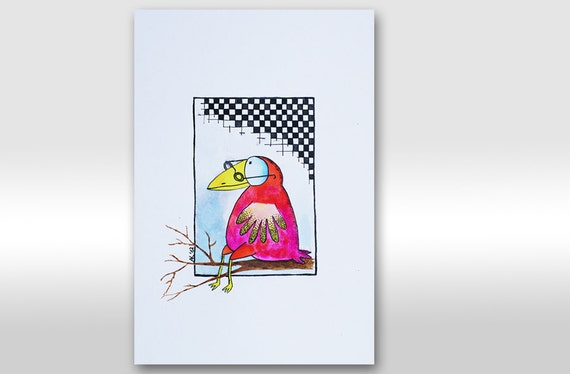 "ORIGINAL PAINTING A4 Autumn. Red Bird painting. Bird drawing. Parrot. Bird illustration ""Clever bird"". Gift. Pink. Nursery. For kid. Glasses"