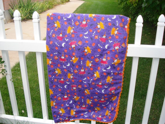 Baby Halloween Receiving Blanket in Witchie Witch