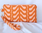 Burnt Orange and Peach Wristlet Wallet - Clutch with zipper closure