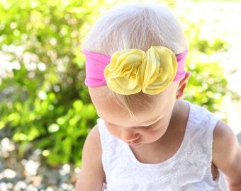 Pink Lemonade Jersey Flower Headband