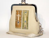 Clutch Wallet Wristlet in Natural Linen - Navajo Yei Figures on Green and Brown