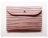 CLUTCH // pink suede white stipes
