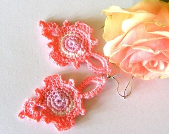 Crochet  Romantic Earrings Dangles Pastel fashion Orginal design.