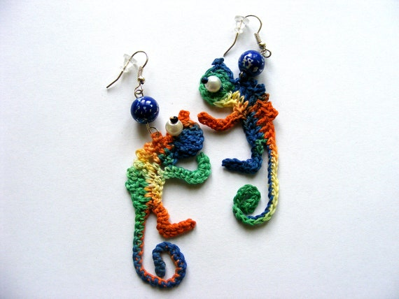Crochet  Chameleons Earrings Original design