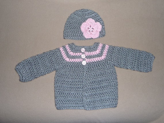 Newborn Grey and Pink Sweater and Hat w/ Flower