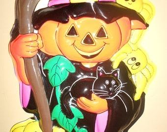 SUPER SALE - Vintage3D  Molded Plastic Pumpkin and Cat Halloween Decoration